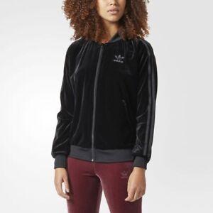 Details about Adidas Originals Track Jacket Velvet Black Women's CW0272 SST TT Zip Rare