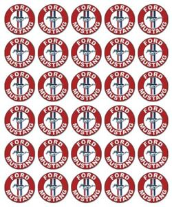 FORD LOGO 30 Edible Wafer Paper Cupcake Toppers Birthday Cake Decorations