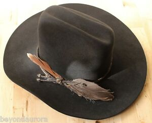 d9f27a454 Details about Resistol 5X Beaver Black Feather Cowboy Hat Conforming  Country Western Sz 6 7/8