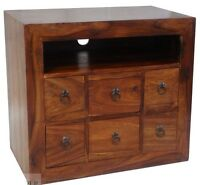 Solid Sheesham Wood Widescreen Tv Lcd Plasma Cabinet Stand Unit
