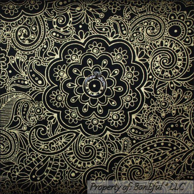BonEful FABRIC FQ Cotton Quilt VTG Black Gold Metallic Flower Paisley Damask Dot