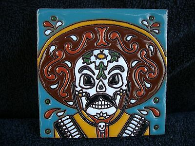 """6/""""X6/"""" Day of Dead Mexican Tile Gone Fishing Project Kitchen Fisher Man"""