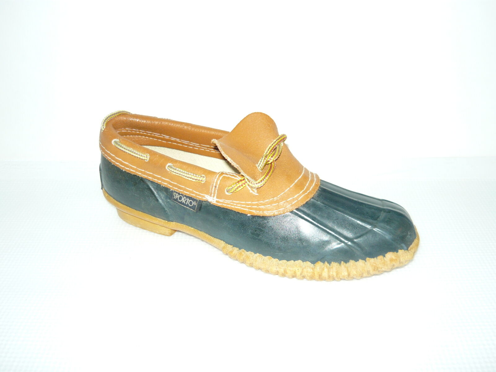 VTG Sporto Original Rain Snow Duck bottes bleu marron Leather Rubber femmes Taille 7