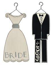 Bride & Groom~Set 2~Wood Ornament/Sign~Wedding/Marriage/Dress/Tuxedo/Cake/Favor