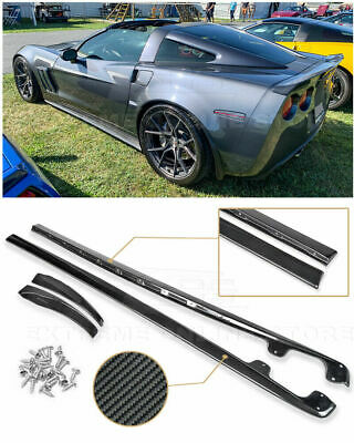 CHENDGE2 2PCS Side Skirts Rocker Panels for Corvette C6 Z06 ZR1 Style 2005-2013 BLACK