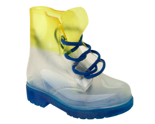 GIRLS TRANSPARENT JELLY WELLINGTON RAIN LACE UP WATERPROOF WELLIES BOOTS SIZE