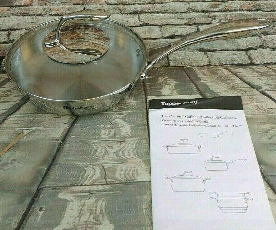 Tupperware Chef Series 8  en acier inoxydable Poêle avec un verre trempé Couvercle