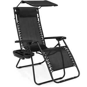 Pleasing Details About Folding Zero Gravity Lounge Chair W Canopy Magazine Cup Holder Black Uwap Interior Chair Design Uwaporg