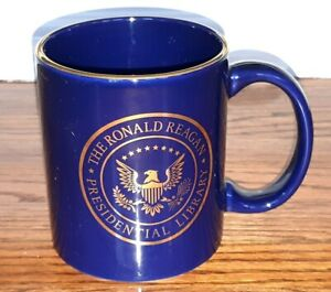 Ronald-Reagan-Presidential-Library-amp-Museum-Simi-Valley-Blue-Gold-Trim-Cup-Mug