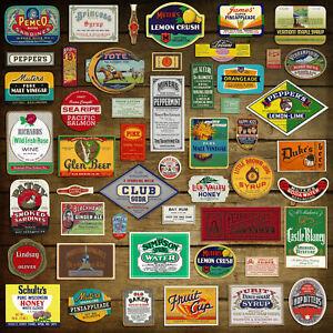 50 Vintage GROCERY, LIQUOR & DIME STORE LABELS: Original Unused EPHEMERA (D12)