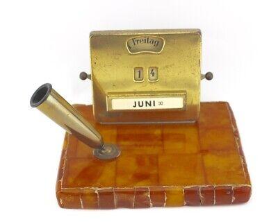 40-50er Jahre Schreibtischgarnitur Bernstein Amber Butterscotch 12x10 Handarbeit