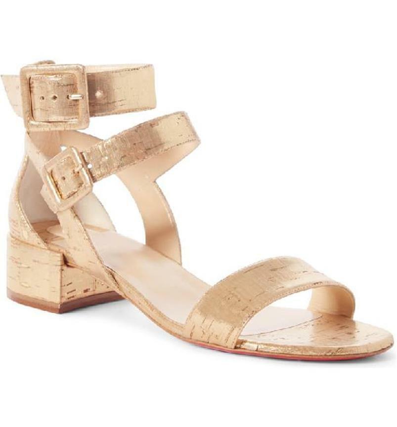 Christian Louboutin MULTIPOT 25  Cork Block Heel Strappy Sandals scarpe oro  845  produttori fornitura diretta