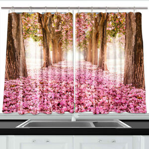 Cherry Blossom Lin Window Treatments For Kitchen Curtains 2 Panels 55x39 Inches Ebay