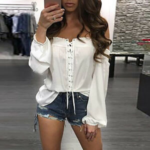 5db82c30e04b4 Fashion Womens Summer Off Shoulder Shirt Long Sleeve Casual Blouse ...