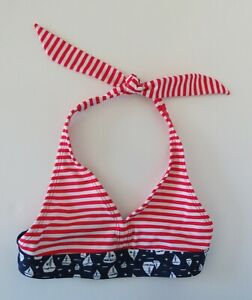 0e0a98c030f42 Girls 7/8 Medium Swim Suit Top Bikini Top Red & White Stripes ...