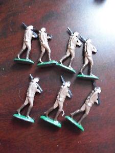 Lot-of-7-Vintage-Lead-Army-Gunner-Figurines-1-3-4-034-LOOK