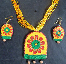 Indian Yellow Exclusive Terracotta Designer Pendant Earrings Thread Necklace 3