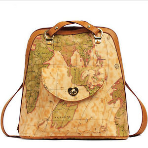 Women vintage world map print backpack schoolbag rucksack shoulder image is loading women vintage world map print backpack schoolbag rucksack gumiabroncs Gallery