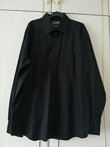 Marks-amp-Spencer-Homme-Chemise-noire-Col-18-taille-3XL-manches-longues-poche-Boutons