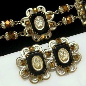 ST-ANTHONY-Vintage-Necklace-Bracelet-Pin-Brooch-Crystal-Aurum-Rhinestones-Set