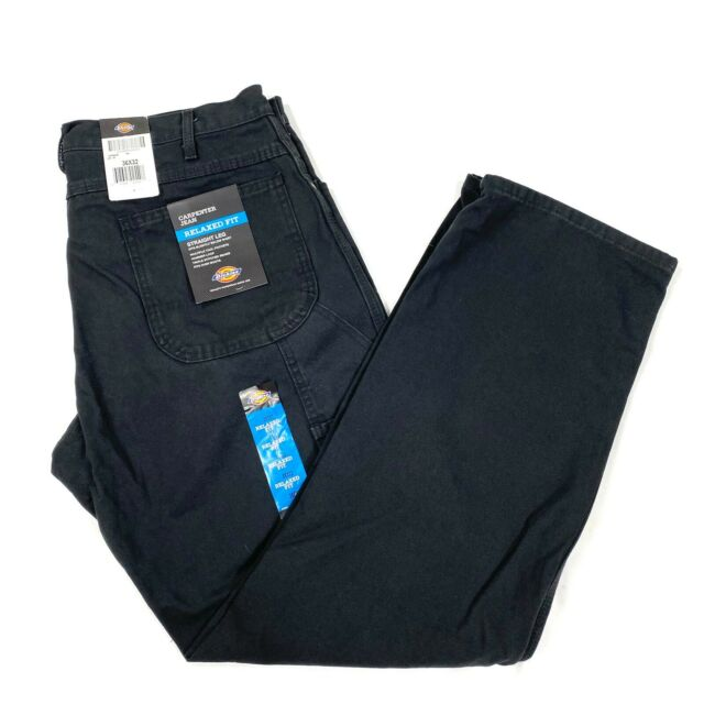 Dickies mens relaxed fit black duck carpenter jean Size 36x 32 straight leg