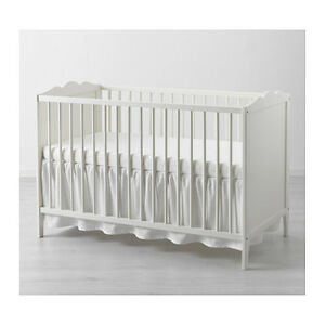 ikea len cot skirt white 70x140 cm baby cot decoration cosy cotton ebay. Black Bedroom Furniture Sets. Home Design Ideas