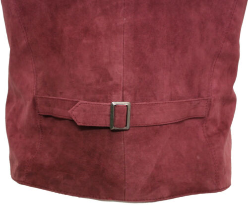 Burgundy Waistcoat Suede Leather Smart Men's Goat Classic PIP7w