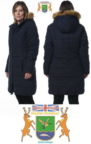 Ladies Fur Trim 3//4 Padded Jacket by Hunter Outdoor