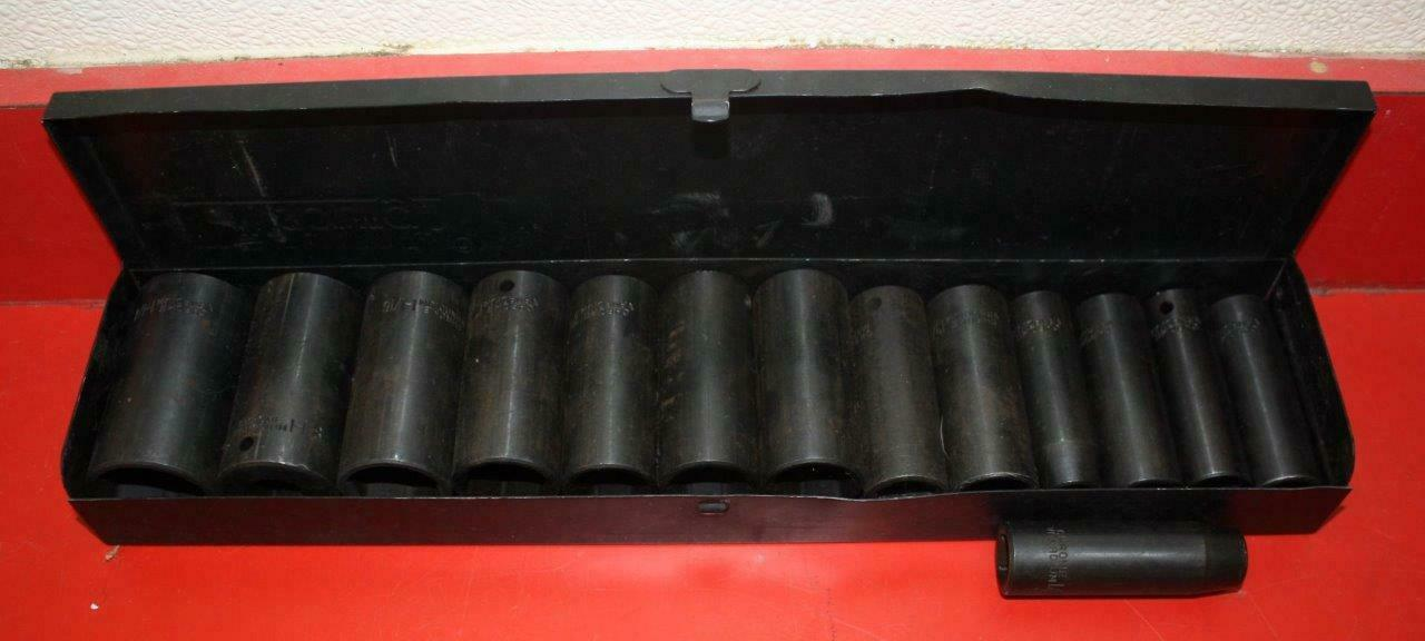 Pittsburgh 1 2  Socket Set Heavy Duty Chrome Vanadium 1 1 8  - 3 4  Metal Box 98