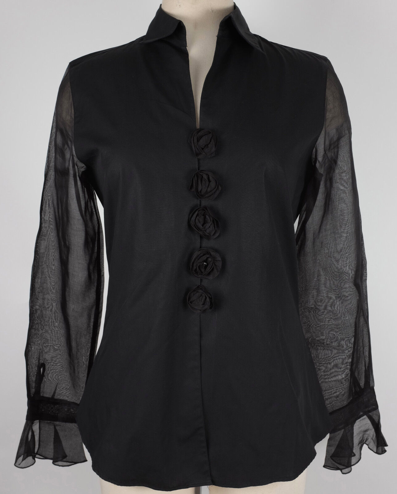 New Anne Fontaine sz 2 schwarz blouse long sleeve top