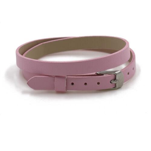 Assorted Color PU Leather Wrap Strap Floating Charm Locket Bracelet 30mm Round