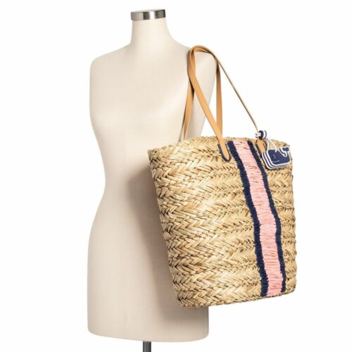 Details about  /Vineyard Vines Target Straw Tan Pink Navy Large Tote Beach Bag Whale Fob NEW