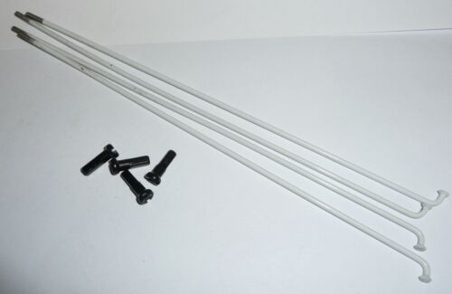 4 x WHITE MTB SPOKES PLAIN GAUGE 262mm supplied with black nipples