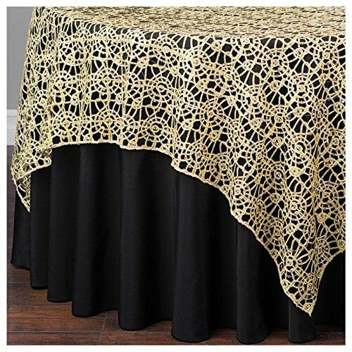 or Chemical Lace Sequin Table Overlay 72 x 72 inch Made in USA Wedding Party