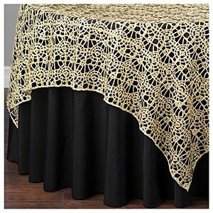 Gold-Chemical-Lace-Sequin-Table-Overlay-85-x-85-inch-Made-in-USA-Wedding-Party