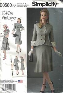 Simplicity-D0580-8242-1940-039-s-Suit-or-2-Piece-Peplum-Misses-Size-10-18-New