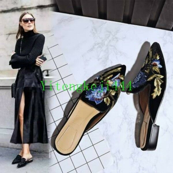 Suede Leather femmes Flats Mules Slippers embroidery flower slip on sandals New Y