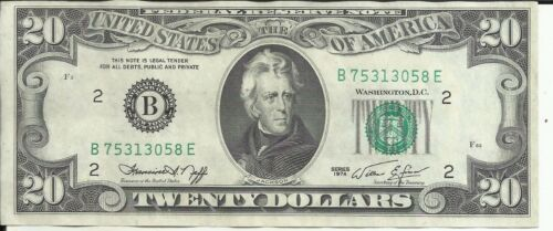 XF CONDITION 5RW 22FEB US 20$ DOLLAR BANKNOTE 1974 LETTER B