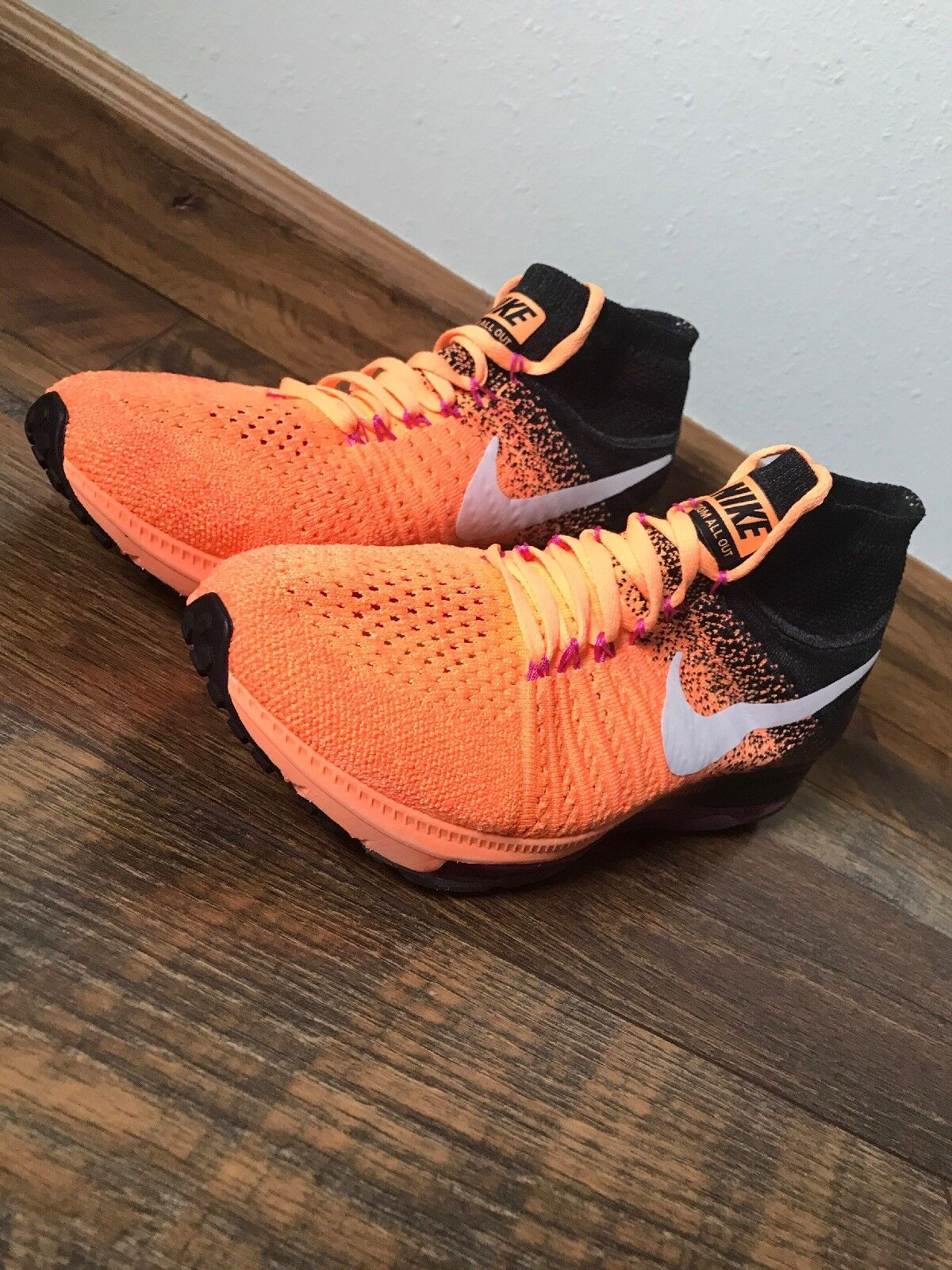 competitive price 44cda 58b05 NEW Nike Air Air Air Zoom All Out Flyknit shoes Women Sz 9.5 Peach Black  845361