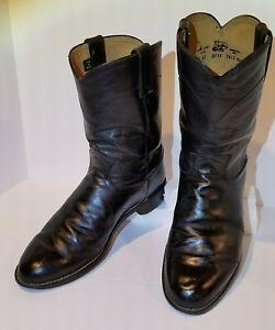 6408fa8de45 Details about Justin Men's Black Roper Leather Western Cowboy Boots Style  3133 Size 8 EE