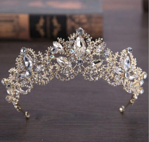 Women Gold Rhinestone Crystal Wedding Bride Party Hair Headband Crown Tiara