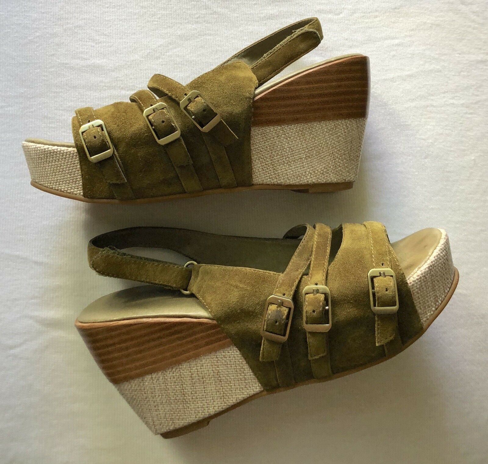 Sandalias de Cuña De Cuero Gamuza verde Antílope