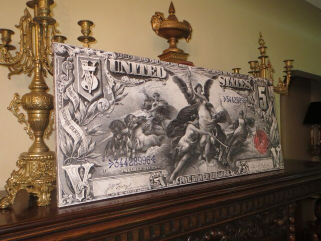 HUGE CANVAS ARTWORK! - 1896 EDUCATIONAL NOTE - $5 SILVER CERTIFICATE - BEAUTIFUL