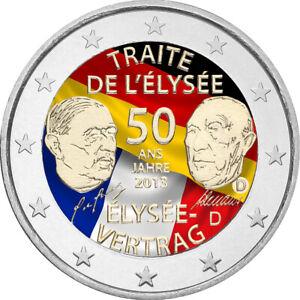 2-Euro-Gedenkmuenze-BRD-Deutschland-2013-Elysee-V-coloriert-Farbe-Farbmuenze