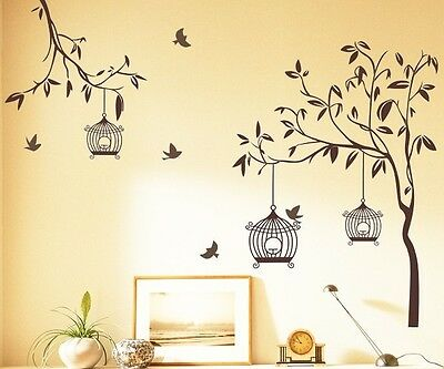 7127 | Wall Stickers Brown Tree with Birds and Cages