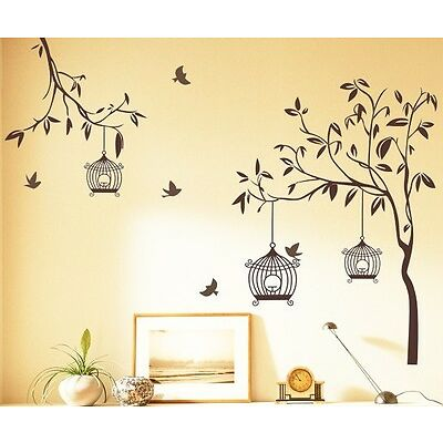 Wall Stickers Brown Tree with Birds and Cages 7127