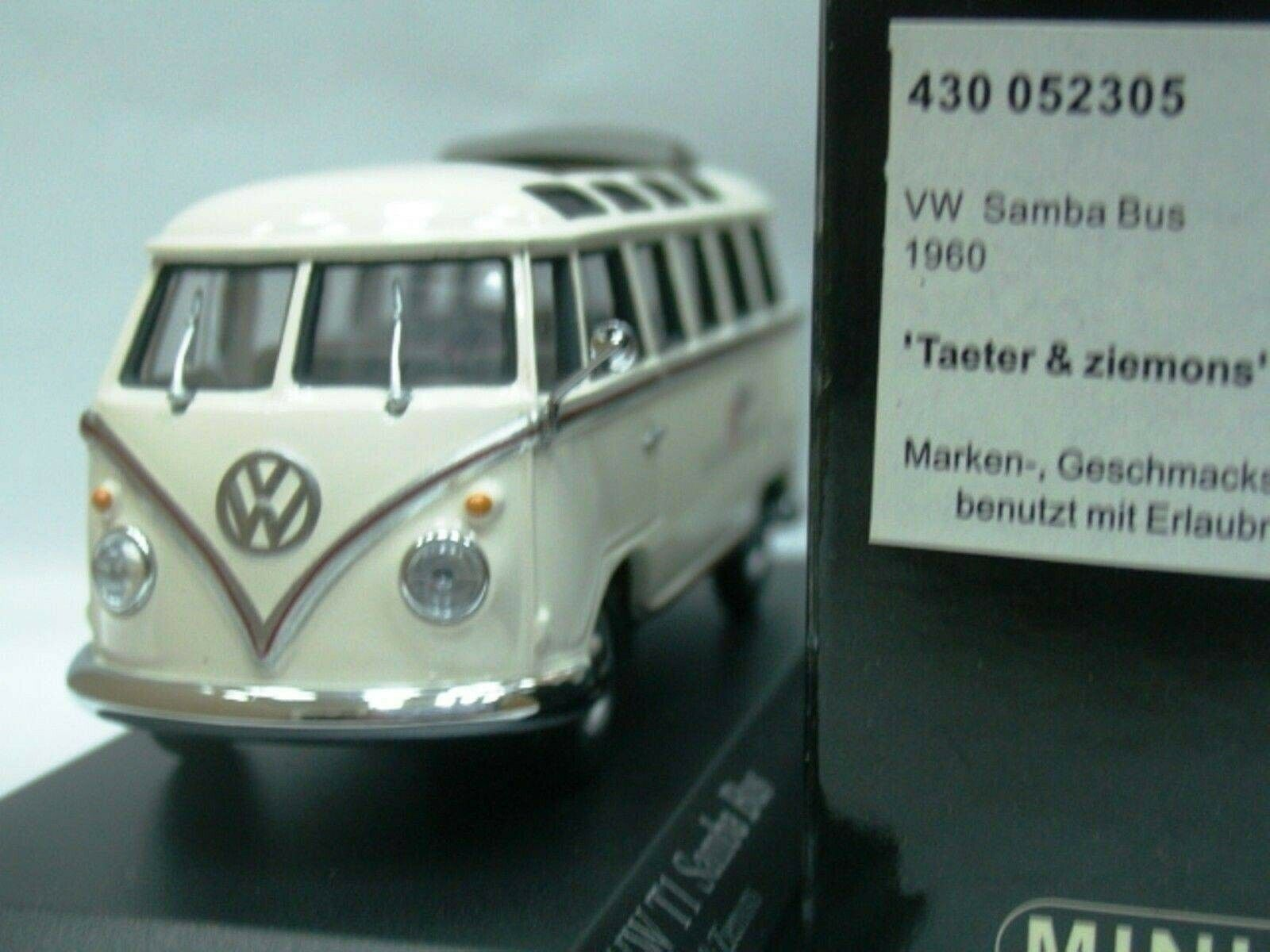 WOW EXTREMELY RARE VW T1 1.2L Samba Bus 1960 'Taeter' 1 43 Minichamps-T2 T5