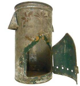 RARE MID-19TH C AMERICAN US CIVIL WAR GRN ENML/STNCLD GOLD PNTD TIN NURSE'S LAMP