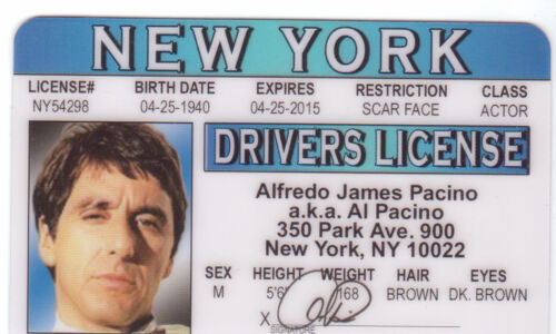 Al Pacino actor Star of SCARFACE collectors card Drivers License
