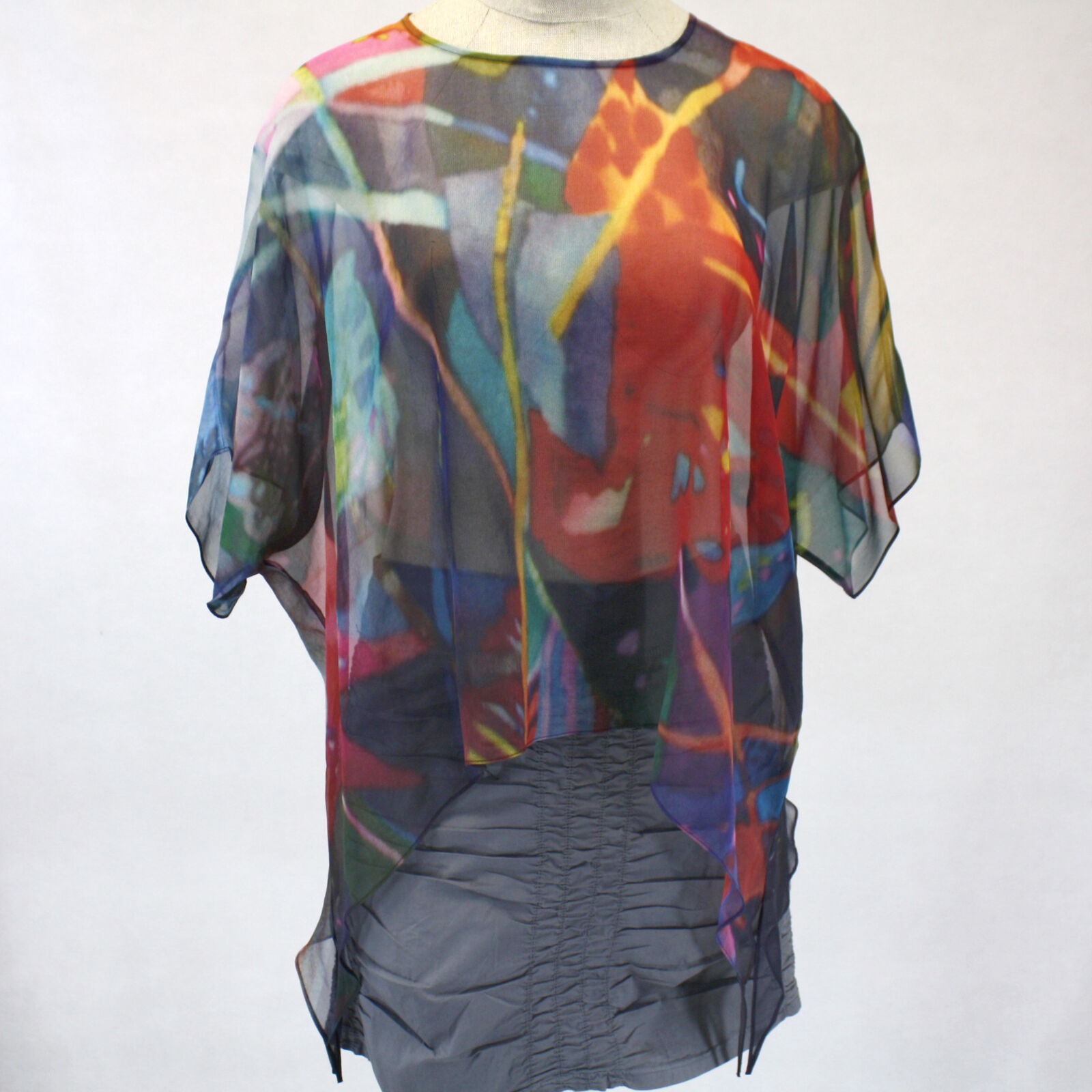 NEW NWT Cocoon House Wearable Art Flower Garden Sheer Silk Pointed Top Large XL